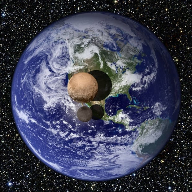 Pluto and Charon size versus Earth