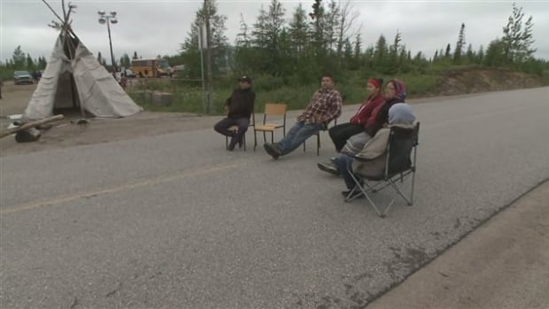 Members of the Innu Community of Natashquan and Mingan set up a blockade Wednesday at the La Romaine hydroelectric construction site.