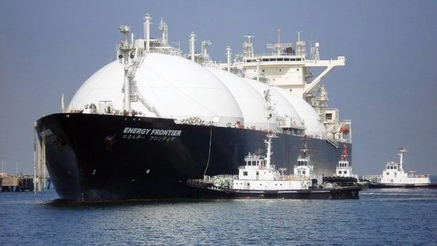 A liquefied natural gas tanker arrives east of Tokyo.