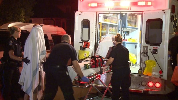 "Two dog bite victims are loaded into an ambulance in New Westminster early Thursday morning. The woman, seen here covered in a bed sheet on a stretcher, suffered what police called ""a life-long injury"" to her face."