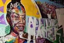 Sandra Bland Tech Wall graffiti mural defaced July 2015