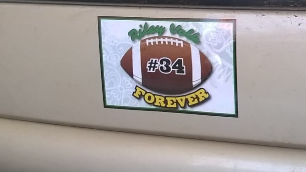 Connie Volk of Kindersley, Sask. designed this sticker to honour her late son, Riley, who died when he was 17 years old.