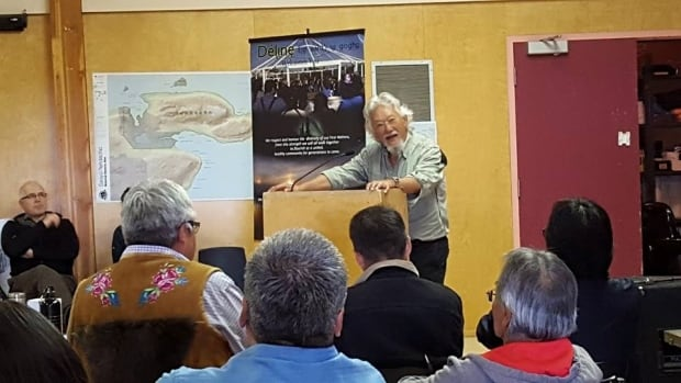 David Suzuki addresses a room full of scientists, elders, and community leaders in Deline, N.W.T. Suzuki says that speaking with Canada's First Nations 'provides me, as an environmentalist, with strong information about how we have to look at our place in the world.'