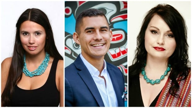 Caitlin Tolley, Tyson Atleo and Gabrielle Fayant