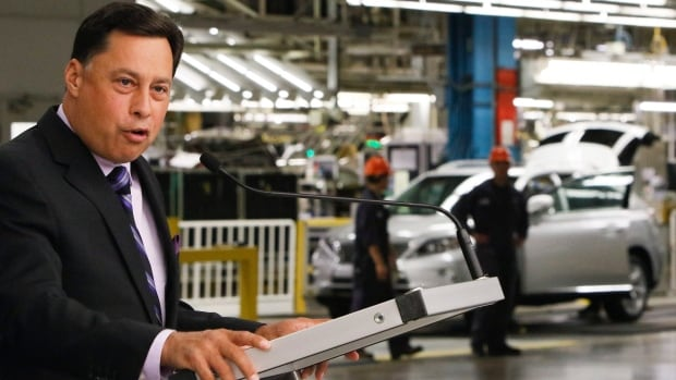 Ontario Economic Development Minister Brad Duguid makes an announcement of aid  for Toyota at the company's plant in Cambridge, Ont. on Friday.
