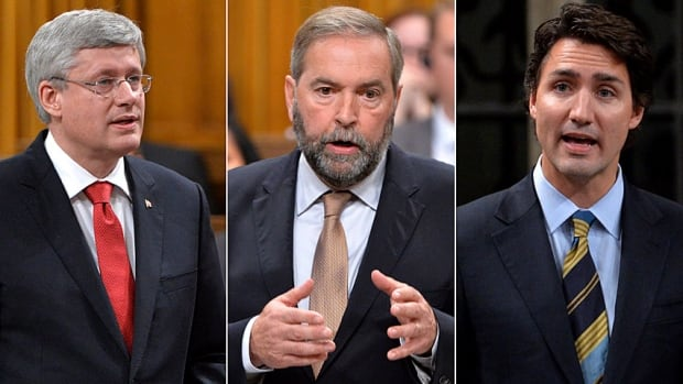 Harper Mulcair Trudeau on government motion on ISIS