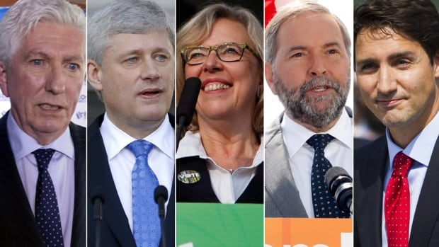 The main federal party leaders, from left, Gilles Duceppe, Stephen Harper, Elizabeth May, Tom Mulcair and Justin Trudeau.