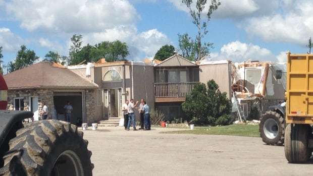 The roof was blown off this house in Teviotdale, Ont, where an EF-2 tornado touched down Sunday, according to Environment Canada.