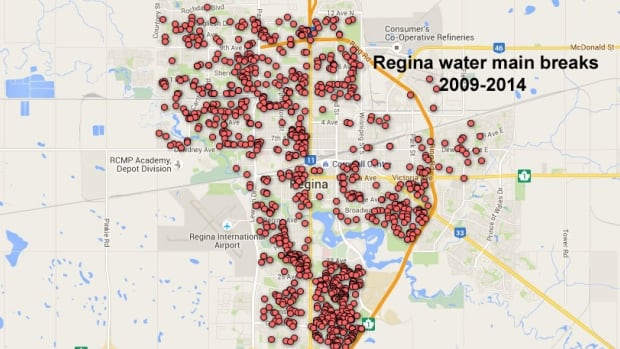 There have more than 1,100 water main breaks in Regina from 2009 to 2014, according to data provided by the City of Regina.