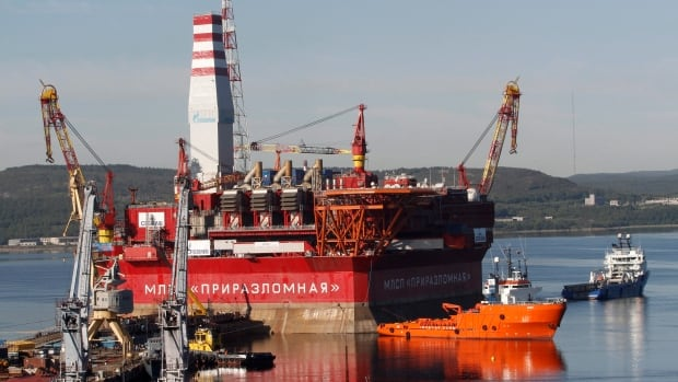 The Prirazlomnaya platform is towed from Murmansk to an oilfield in the Pechora Sea, northern Russia, in 2011. Russia says it has submitted its bid for vast territories in the Arctic to the United Nations. The Foreign Ministry said Tuesday that Russia is claiming 1.2 million square kilometres of Artic sea shelf.