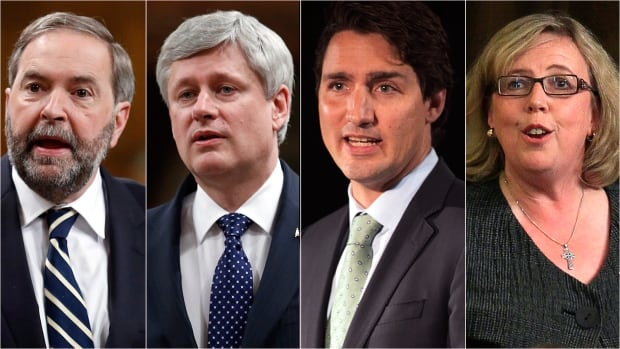 From left, Canadian political party leaders Thomas Mulcair, Stephen Harper, Justin Trudeau and Elizabeth May.