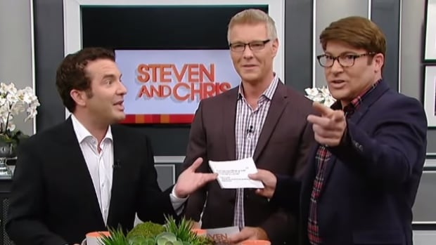 Steven Sabados, centre, former co-host of Steven and Chris, has been approached about joining a new CBC lifestyle series.