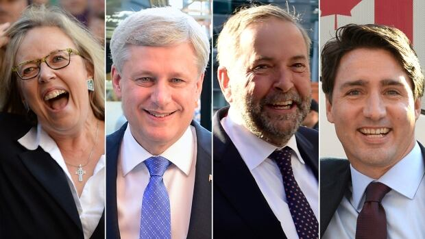 Liberal leader Justin Trudeau, from left, Green Party leader Elizabeth May, NDP Leader Thomas Mulcair and Conservative Leader Stephen Harper had a slow few days leading up to the first debate of the campaign on Thursday.
