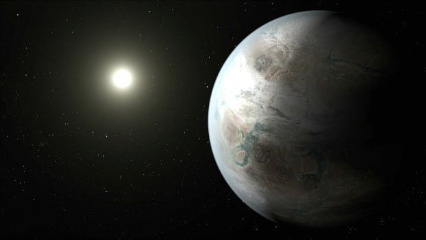 An artist's concept depicting one possible appearance of the planet Kepler-452b, the first near-Earth-size world to be found in the habitable zone of star that is similar to our sun.