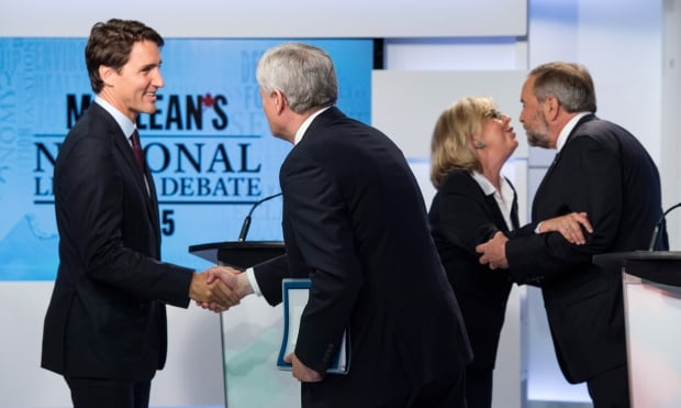 Leaders shake hands after debate