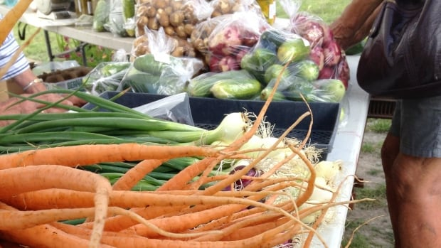 Produce is shown on display at the Fireweed Market in Whitehorse.