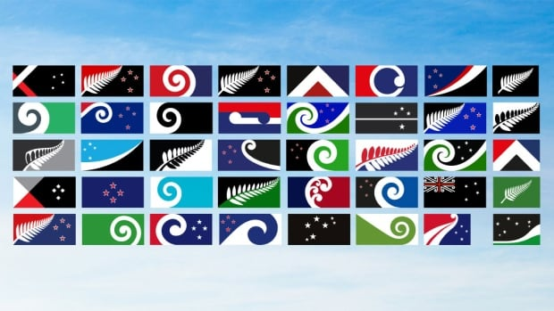 The 40 submitted designs for the new flag for New Zealand, as selected from more than 10,000 entries by the Flag Consideration Panel.