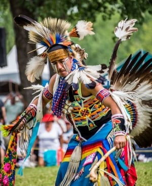 Gabriel Whiteduck dancing at a powwow