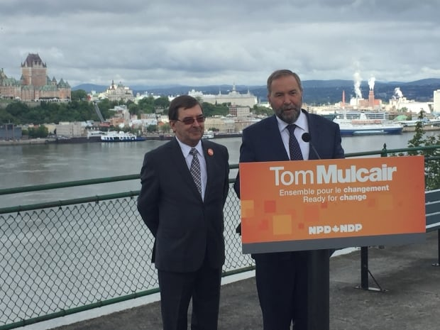 Tom Mulcair in Levis, Que.