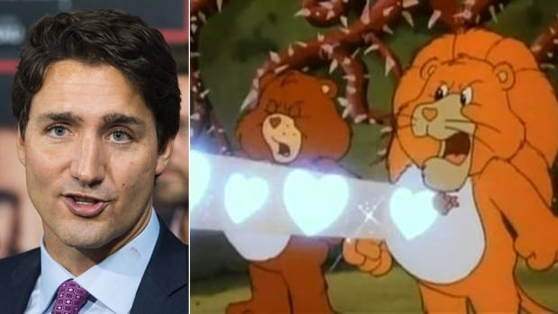 """Liberal Leader Justin Trudeau's pledge to grow the economy """"from the heart outwards"""" led to some predictable Care Bears jokes."""