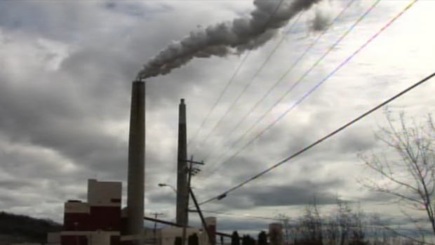 The smokestacks from the now-decommissioned generating station in Dalhousie, NB, were finally demolished today.