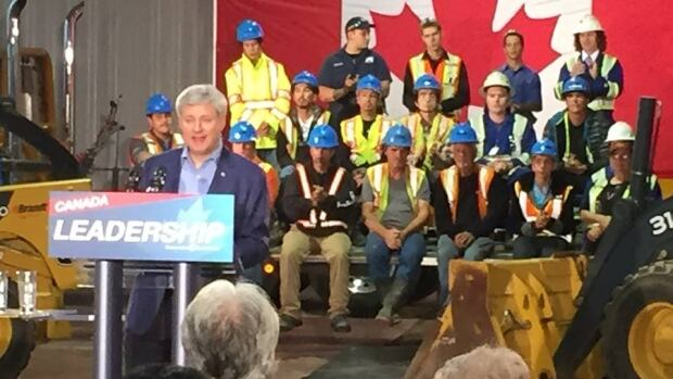 Stephen Harper at Rowe's Construction in Hay River, N.W.T., where he pledged $14 million for improvements to Highway 5 in Wood Buffalo National Park — if re-elected.