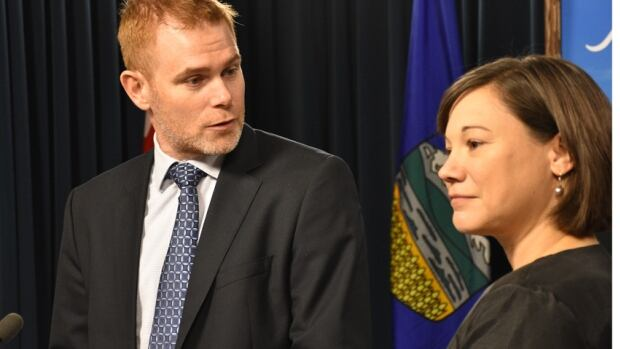 Andrew Leach, chair of the panel, and Environment Minister Shannon Phillips spoke to the media Friday about addressing emissions and climate change.