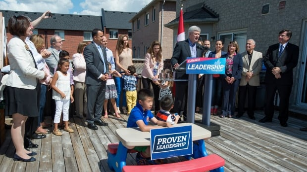 Conservative Leader Stephen Harper continues to pitch his party's platform at families in 2015. A 2008 campaign pledge to extend maternity and parental leave benefits to self-employed workers turned out to be far less popular than expected.
