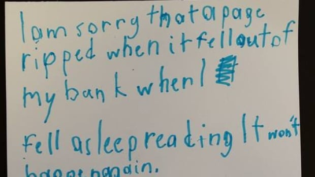 A young reader apologized for an accidental tear in a borrowed book in a note to the Toronto Public Library.