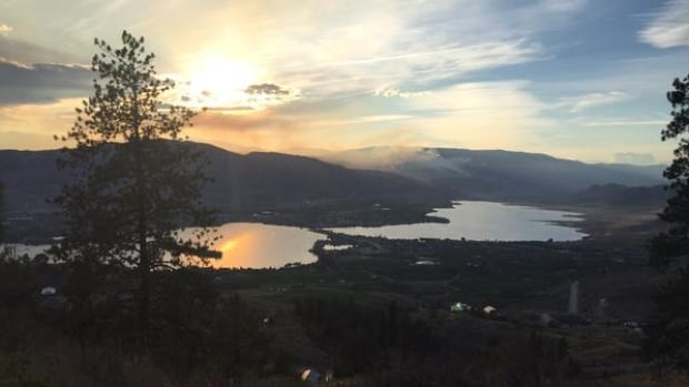 Smoke from one of the two wildfires near Oliver, B.C., could be seen from nearby Osoyoos.