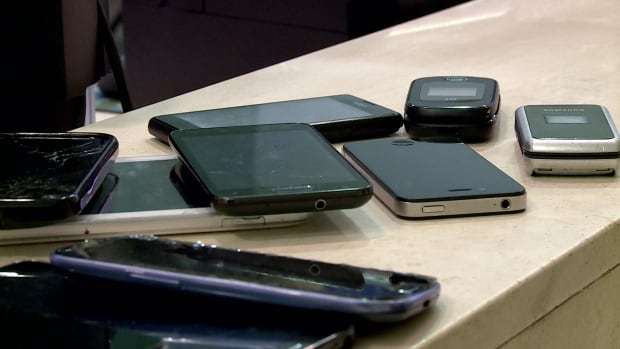 Here are just a few of the cellphones waiting for their owners down at the Edmonton Transit lost and found.