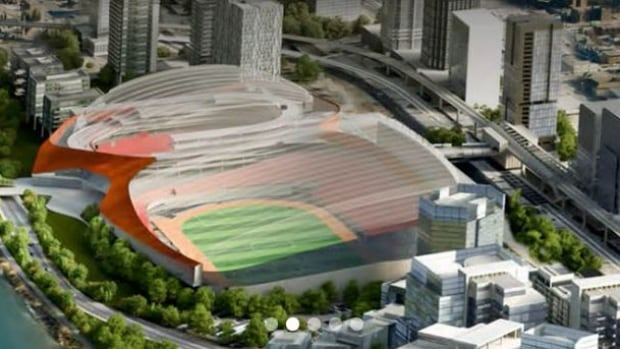 A design-concept image of the CalgaryNext plan, which would include an NHL arena and a CFL stadium that would double as a fieldhouse for public use.