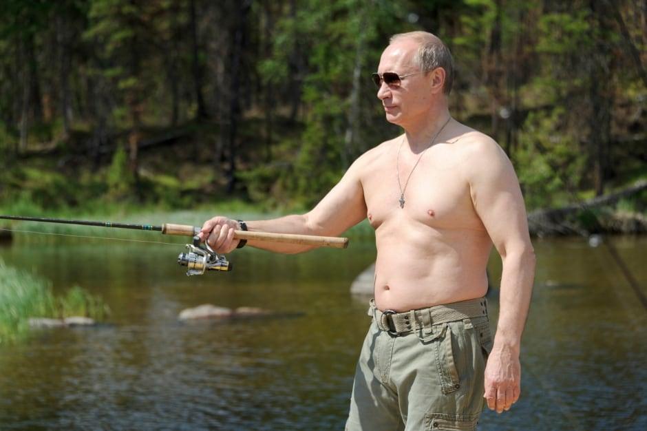 RUSSIA Vladimir Putin goes fishing shirtless in Siberia July 2013