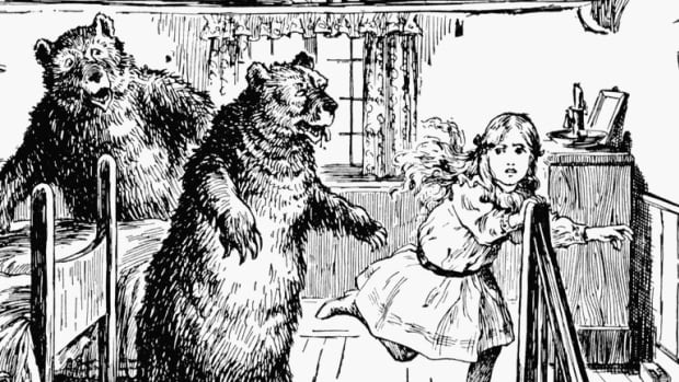 1912 illustration of Goldilocks, originally from 'The Book of Knowledge.'