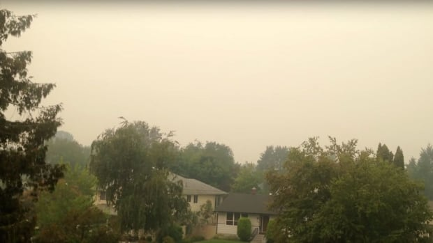 J.M. Sato posted a video to YouTube showing the smoke filling the Okanagan Valley Sunday, Aug. 23.