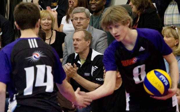 Stephen Harper and wife, Laureen, watch son Ben play volleyball