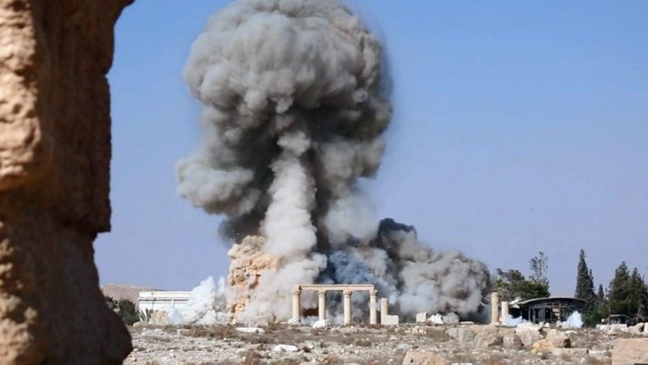 Mideast Syria ISIS destroys Palmyras Baalshamin temple Aug 25 2015