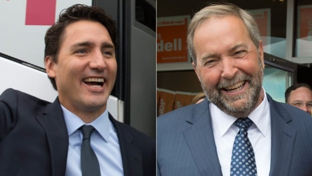 Liberal Leader Justin Trudeau, left, and NDP Leader Tom Mulcair, right, campaigned on Tuesday in Ontario, trading barbs over who is best suited to help Canada's economy.