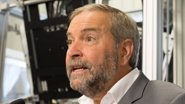 NDP Leader Tom Mulcair announced a tax credit for manufacturers at a campaign event at Sciencetech Inc. in London, Ont., on Wednesday, August 26, 2015.