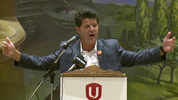Unifor National President Jerry Dias is seen addressing an audience at the Ciociaro Club in Oldcastle, just outside of Windsor, Ont., on Wednesday.
