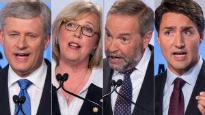 First leaders debate candidates Trudeau Harper May Mulcair