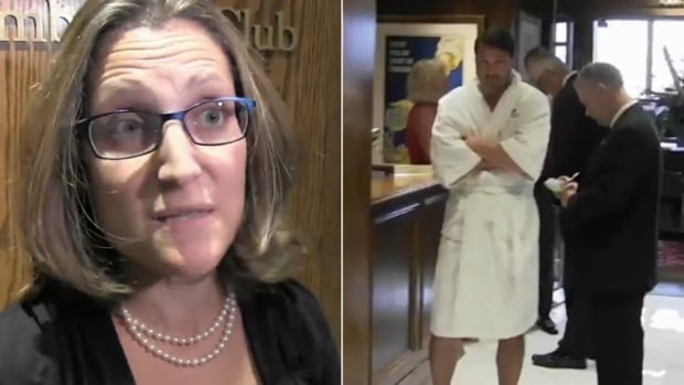 Liberal candidate Chrystia Freeland crashed a men-only club where Tory hopeful Joe Oliver was supposed to  speak on Wednesday, but it was the guy in the bathrobe who captured the attention of the internet.