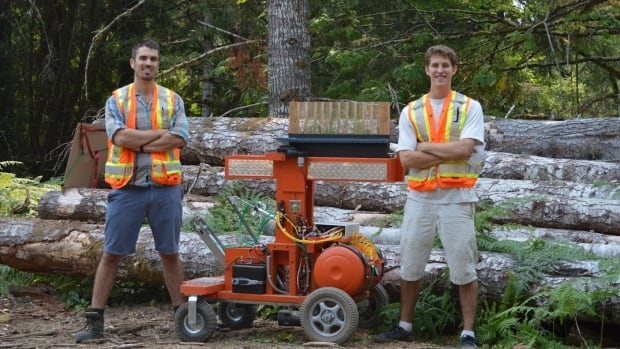 Third-year engineering students Nick Birch and Tyler Rhodes have developed a tree-planting robot.