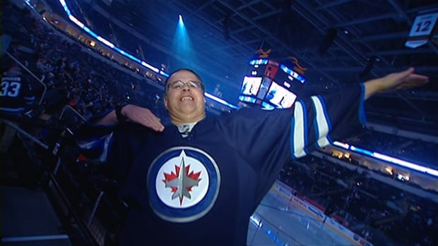 Dancing Gabe shows the camera his moves at a Winnipeg Jets game in January 2013.