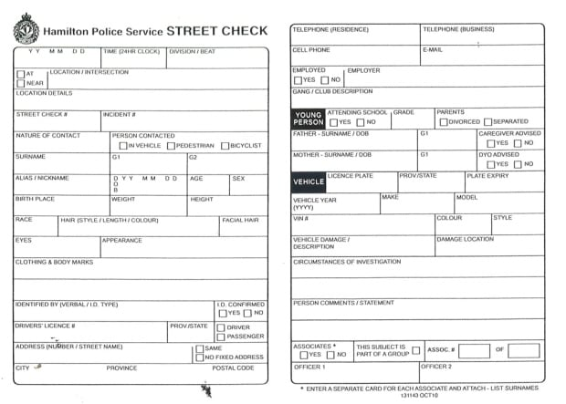 Hamilton Police street check blank form