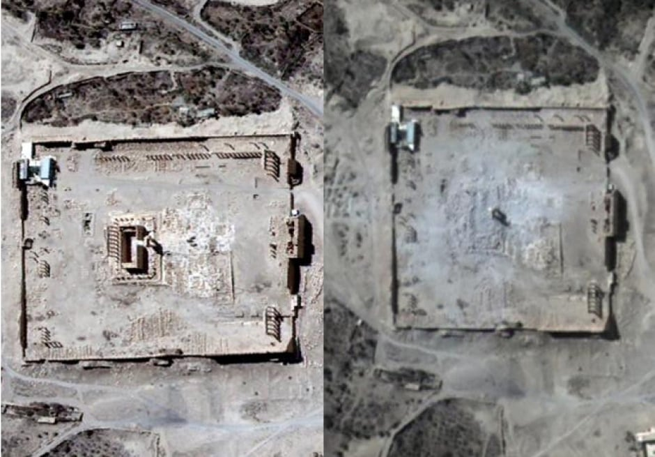 ISIS destroy temple of Bel PALMYRA Aug 31 2015 satellite image