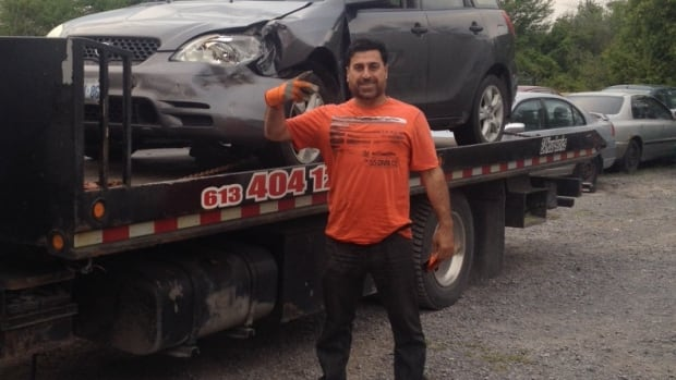 Abbas Kadir, a tow truck operator, was critically hurt when he was struck by a vehicle on Highway 417 last week. He remains in hospital.