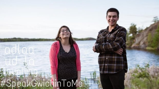 Jacey Firth-Hagen, left, put this photo of herself on her group's Facebook page, with the Gwich'in pronunciation for laughing and #SpeakGwichinToMe.