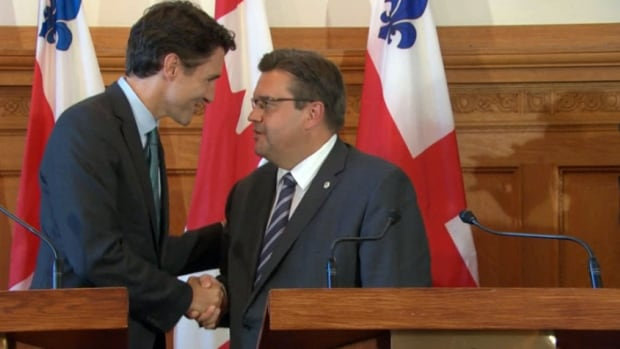 Liberal Leader Justin Trudeau met with Montreal Mayor Dennis Coderre at City Hall on Thursday.