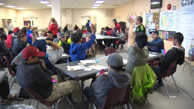 Students at Iqaluit's Inuksuk High School take part in a learning exercise on mining. A new course is being offered this year on mining and energy.